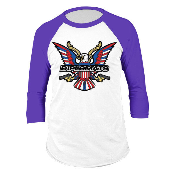 DIPSET USA EAGLE LOGO RAGLAN (WHITE/PURPLE)