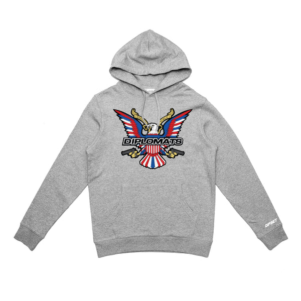 DIPSET EAGLE LOGO EMBROIDERED HOODY (GREY)