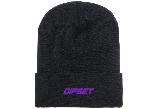 DIPSET LOGO BEANIE (BLACK/PURPLE)