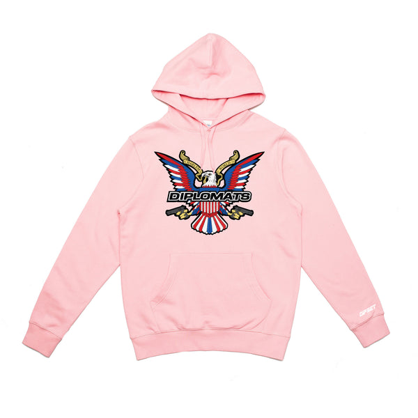 DIPSET EAGLE LOGO EMBROIDERED HOODY (PINK)