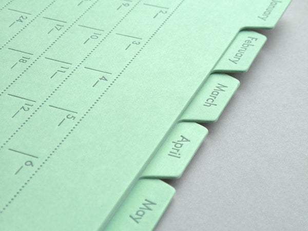 Index Card Calendar closeup