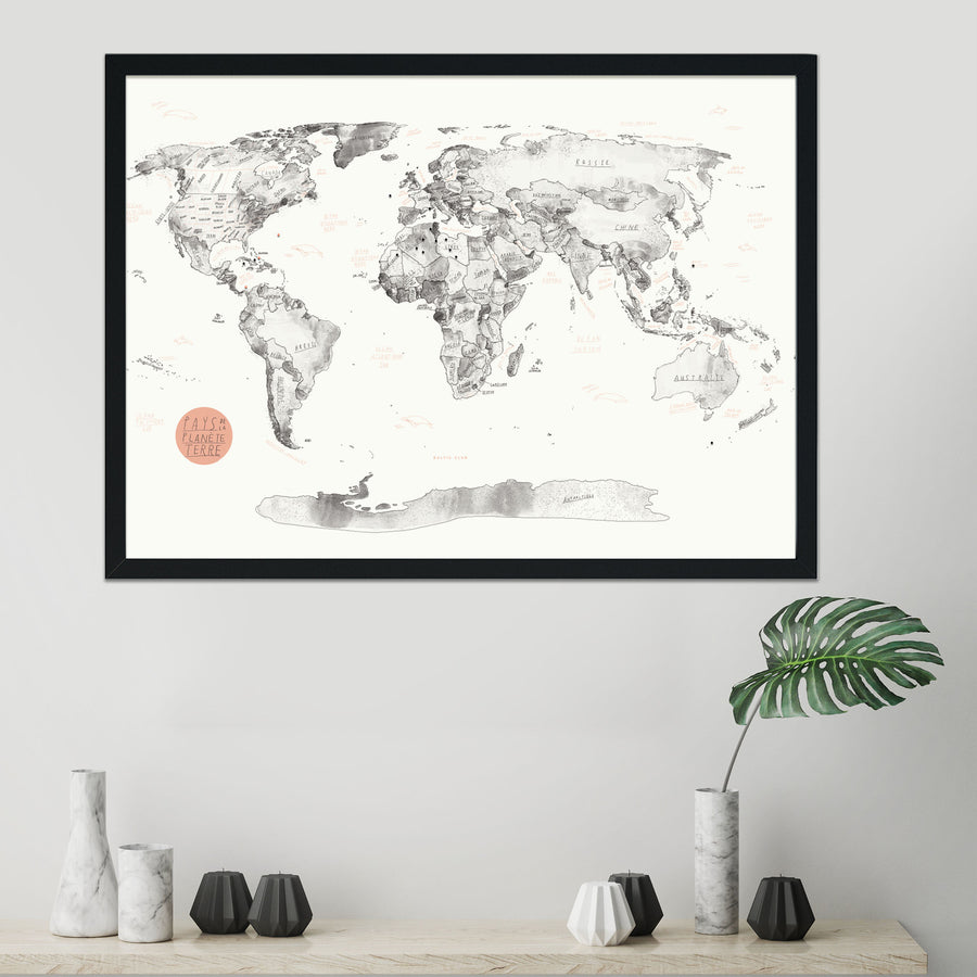 World Map Pinboard + Push Pins