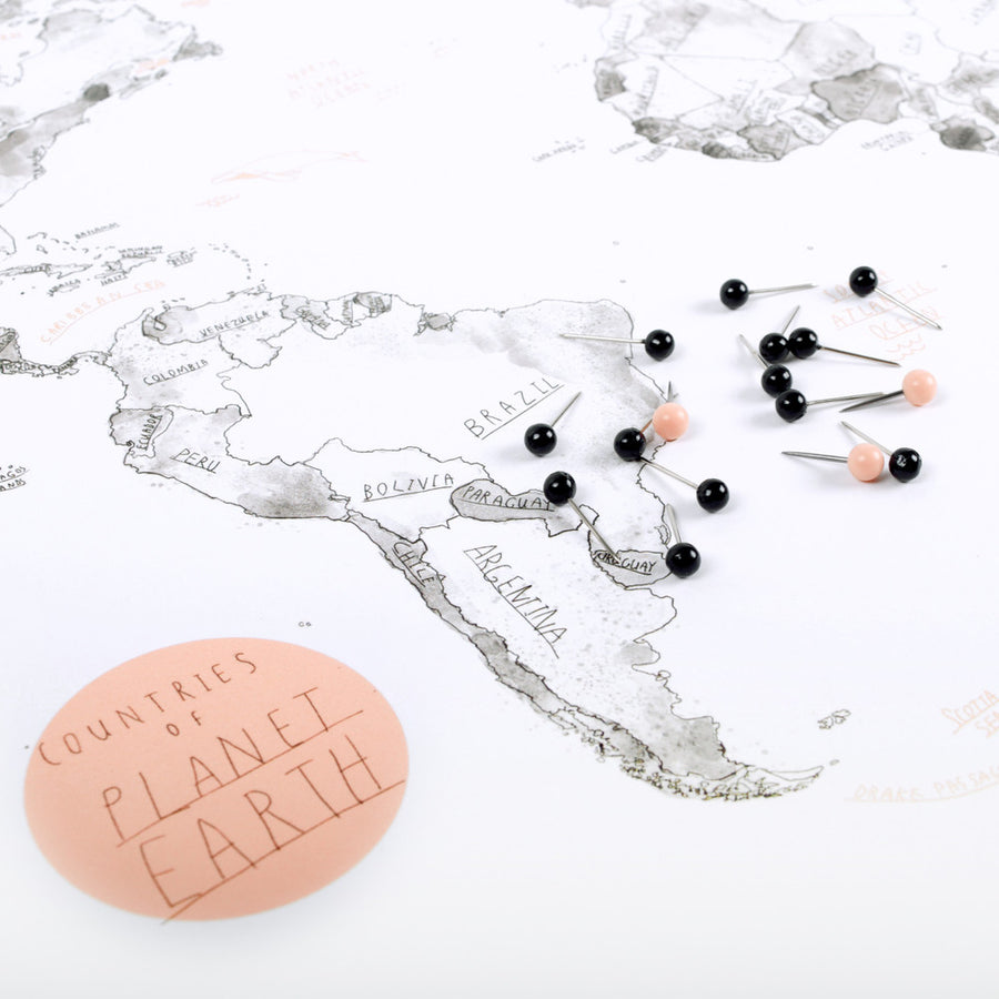 World Map on Cork + Push Pins - The Baltic Club