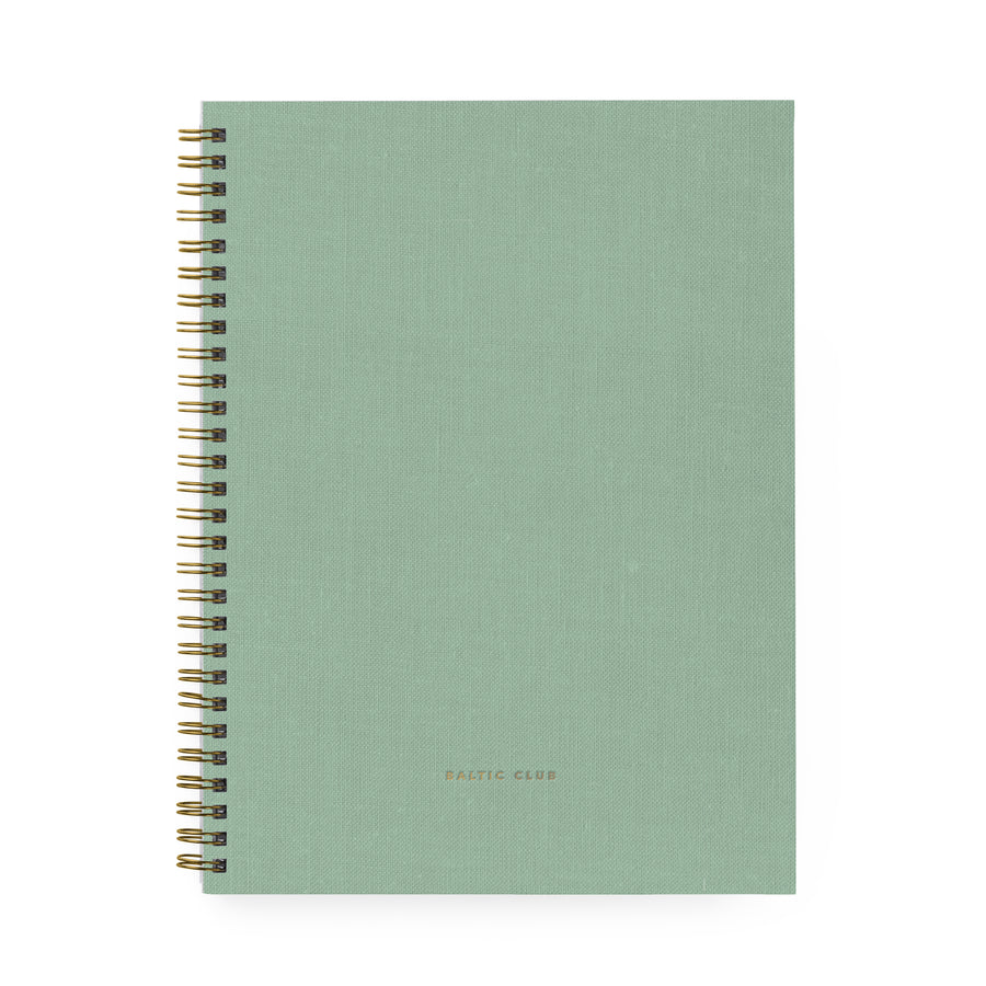 Large Mint Cloth Spiral Notebook
