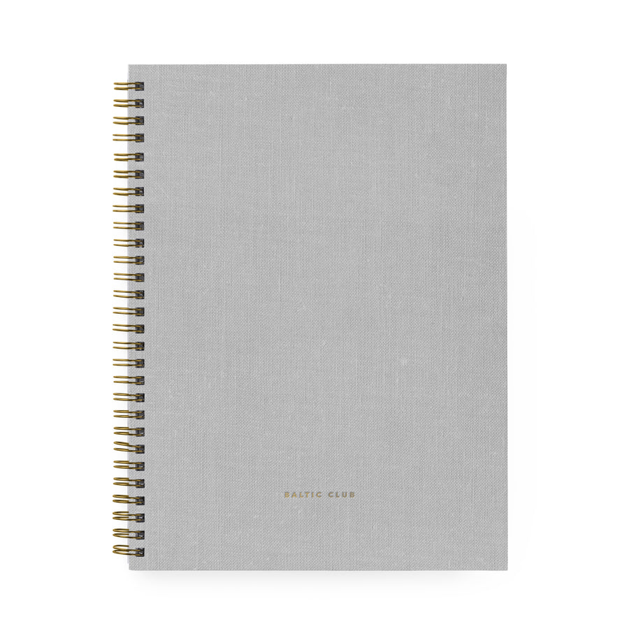 Large Grey Cloth Spiral Notebook