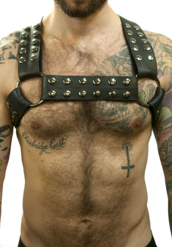 "Priape - 2"" Crossed Back Leather Half-Harness"