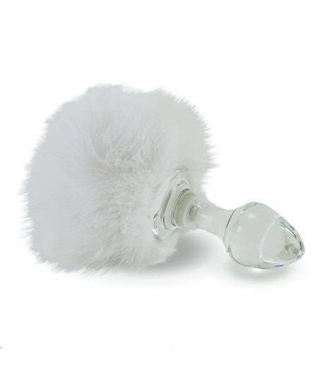 White Bunny - Real Fur Detachable Tail Plug by Crystal Delights