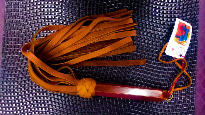"Buffalo Leather Hex Flogger  with 1/2"" falls by Viktoria Torments"