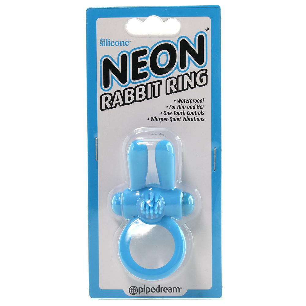 Neon Rabbit Vibrating Cock Ring in Blue