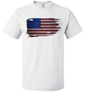 Distressed American Flag T-Shirt | Memorial Day T-Shirt | Aggressive Thread Patriotic Apparel