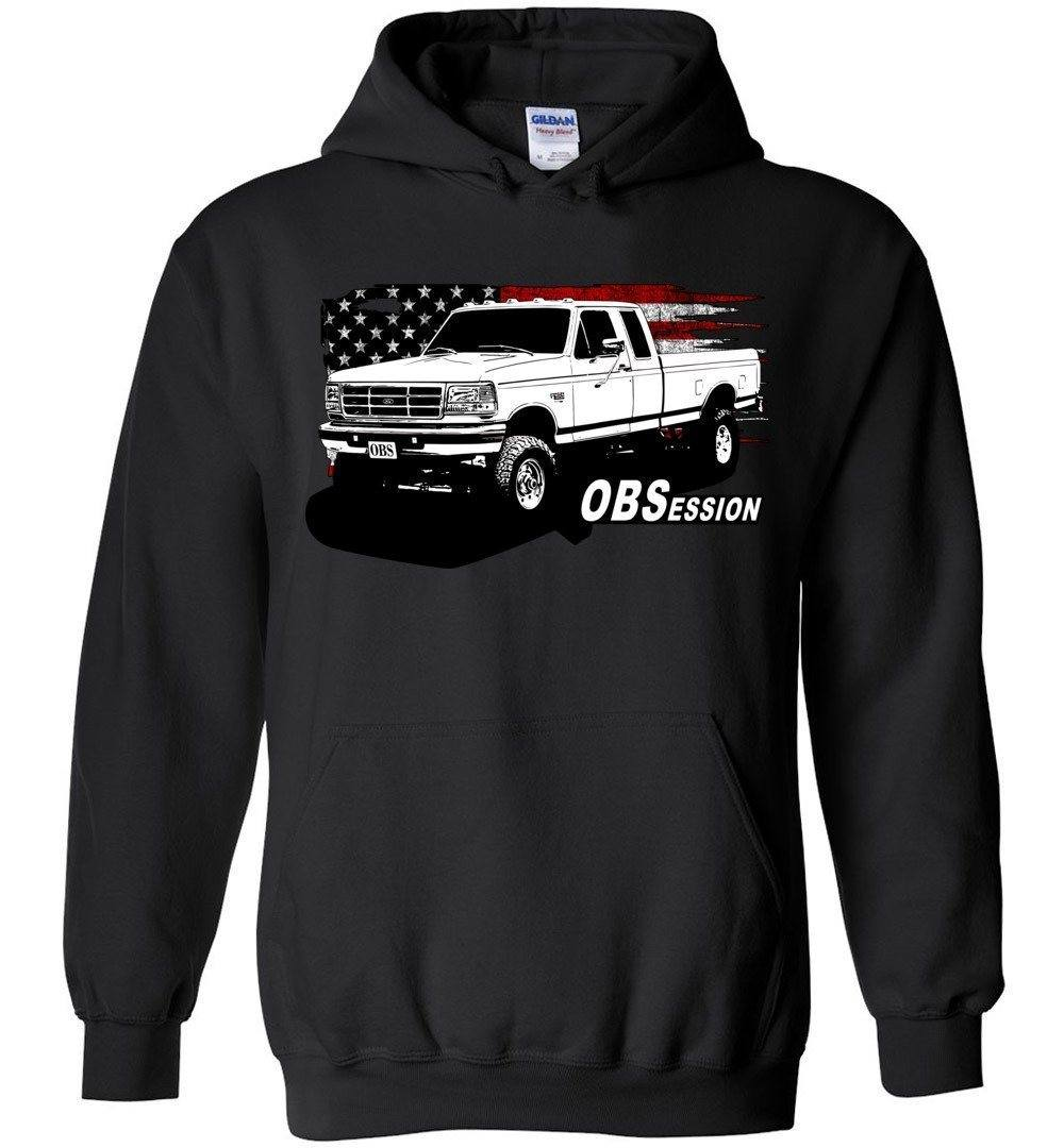 OBS Ford Ext Cab Truck American Flag Sweatshirt Hoodie