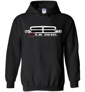 Cummins Hoodie with 12v 5.9 Diesel and Second Gen 1994-1998 Dodge Ram Grille - Aggressive Thread Diesel Truck Sweatshirt