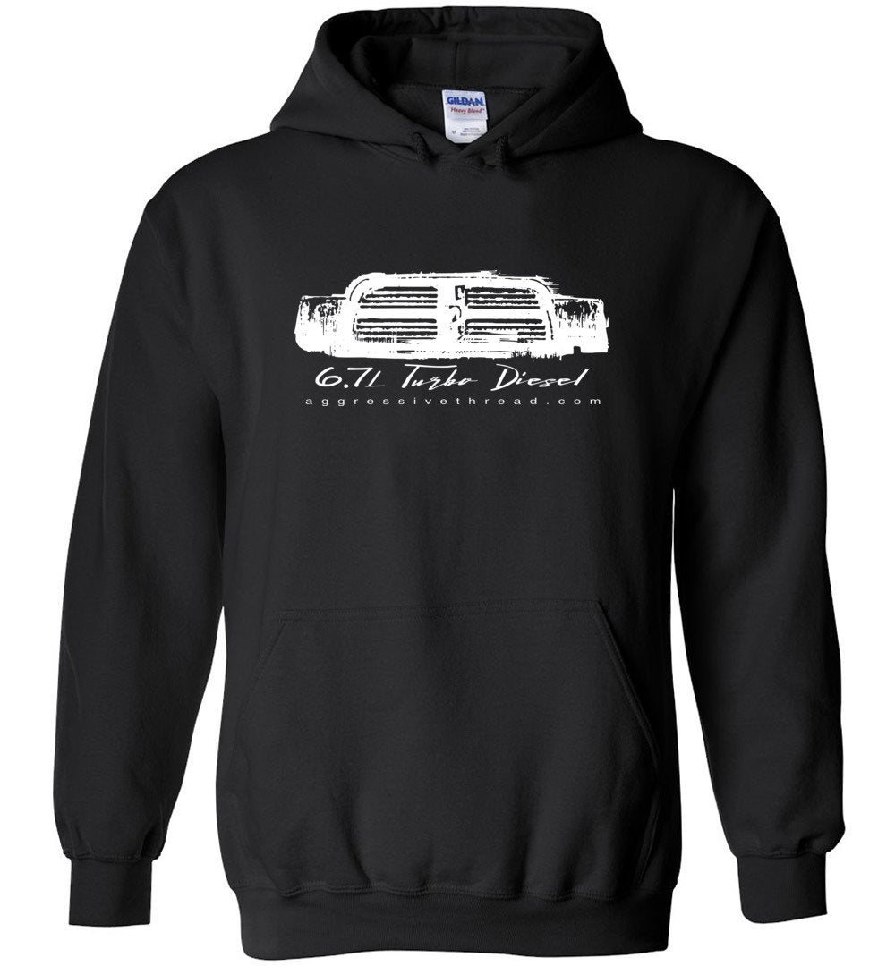 6.7 Turbo Diesel With 4th Gen Grille Hoodie Sweatshirt - Aggressive Thread Diesel Truck T-Shirts