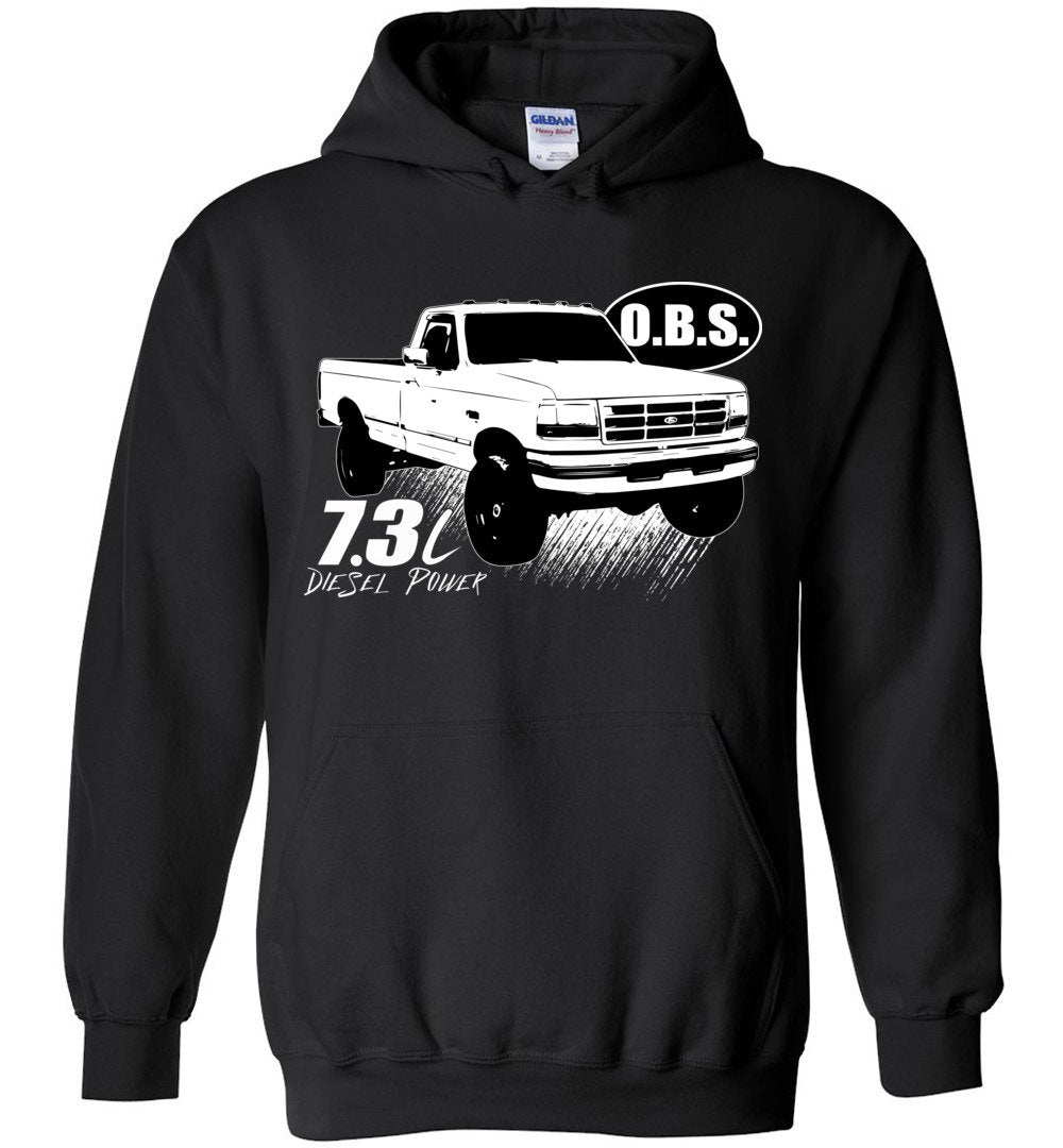 OBS Super Duty Single Cab 7.3 Diesel Powerstroke Hoodie - Aggressive Thread Diesel Truck T-Shirts