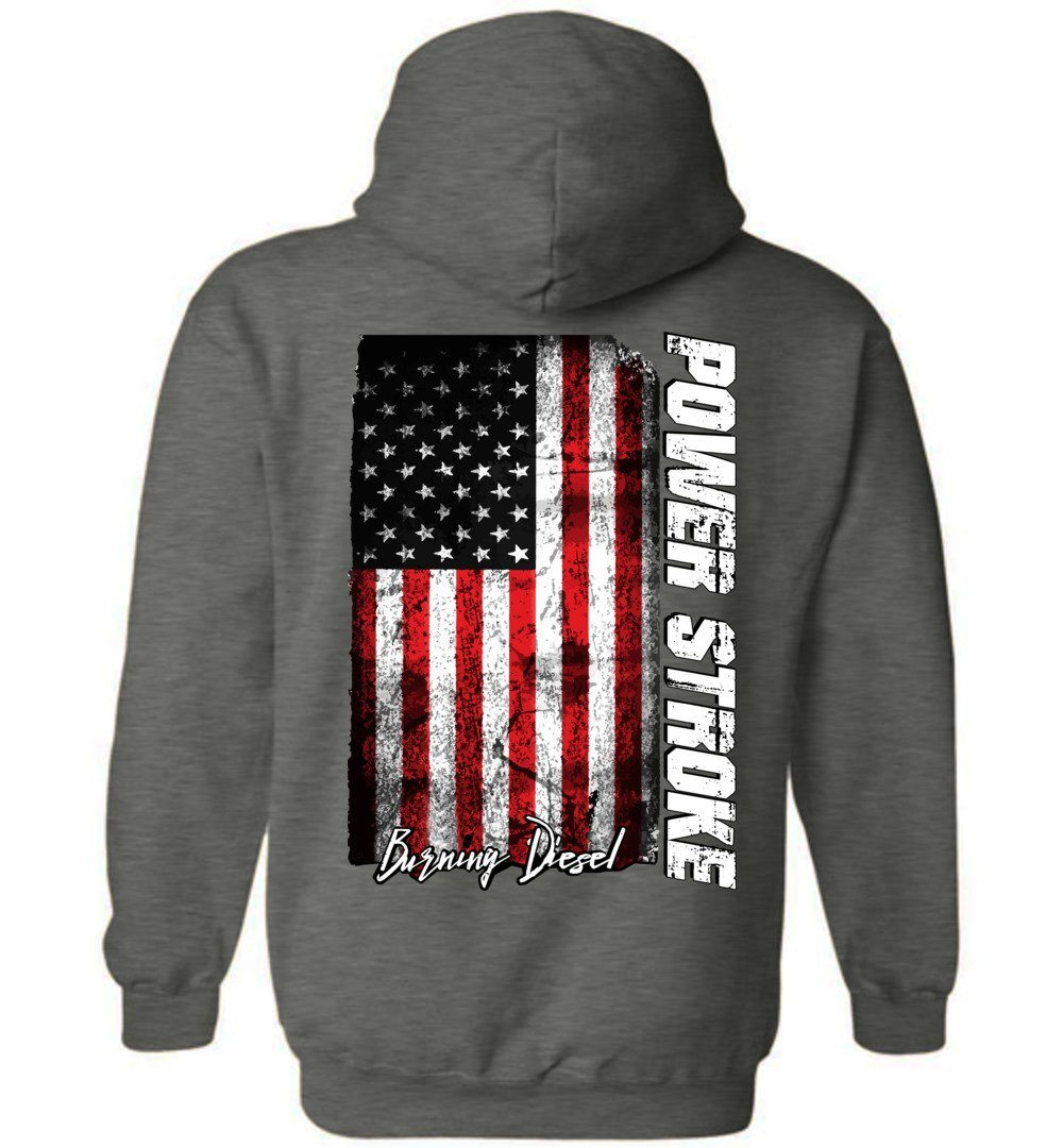 Power Stroke Burning Diesel | American Flag Hoodie Sweatshirt