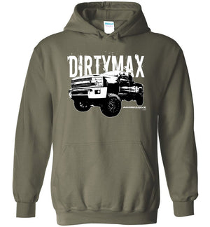 Dirtymax Duramax Hoodie Sweatshirt with 09 Truck - Aggressive Thread Diesel Truck T-Shirts