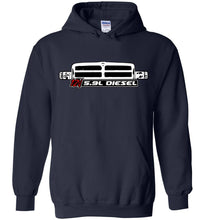 12v 5.9 Diesel With Second Gen Dodge Ram Grille Hoodie Sweatshirt - Aggressive Thread Diesel Truck T-Shirts
