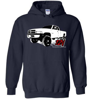 Second Gen Dodge 12V Cummins Diesel Hoodie Sweatshirt - Aggressive Thread Truck Apparel