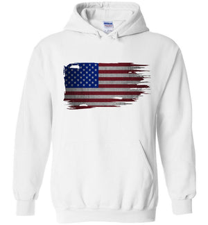 Distressed American Flag Hoodie Sweatshirt | Aggressive Thread Patriotic Apparel