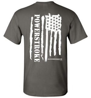 Powerstroke White American Flag Power Stroke T-Shirt - Aggressive Thread Diesel Truck T-Shirts