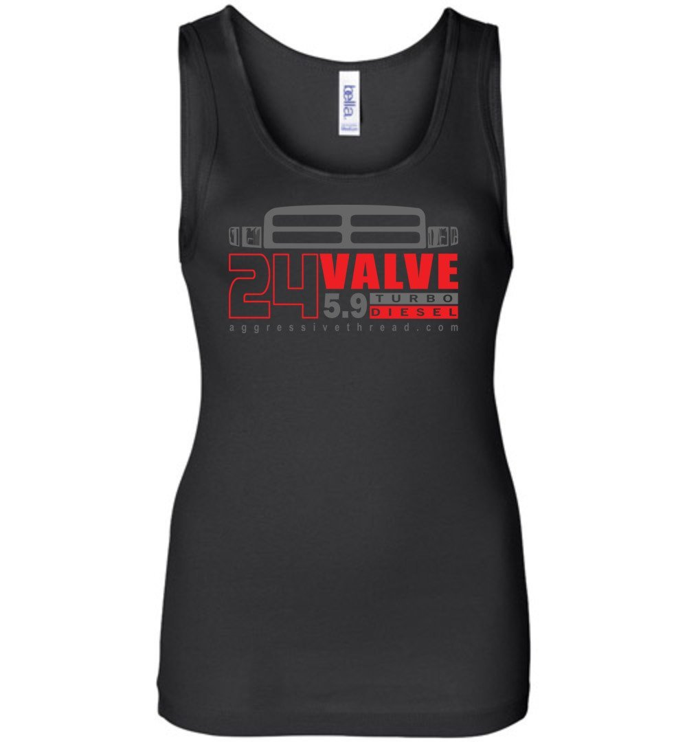 24 Valve Second Gen Turbo Diesel Womens Tank Top - Aggressive Thread Diesel Truck T-Shirts