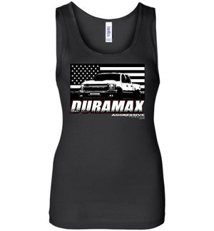 15 Duramax With American Flag Womens Tank Top - Aggressive Thread Diesel Truck T-Shirts