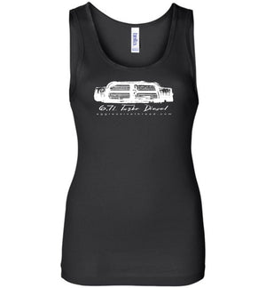 6.7 Turbo Diesel With 4th Gen Grille Womens Tank Top - Aggressive Thread Diesel Truck T-Shirts