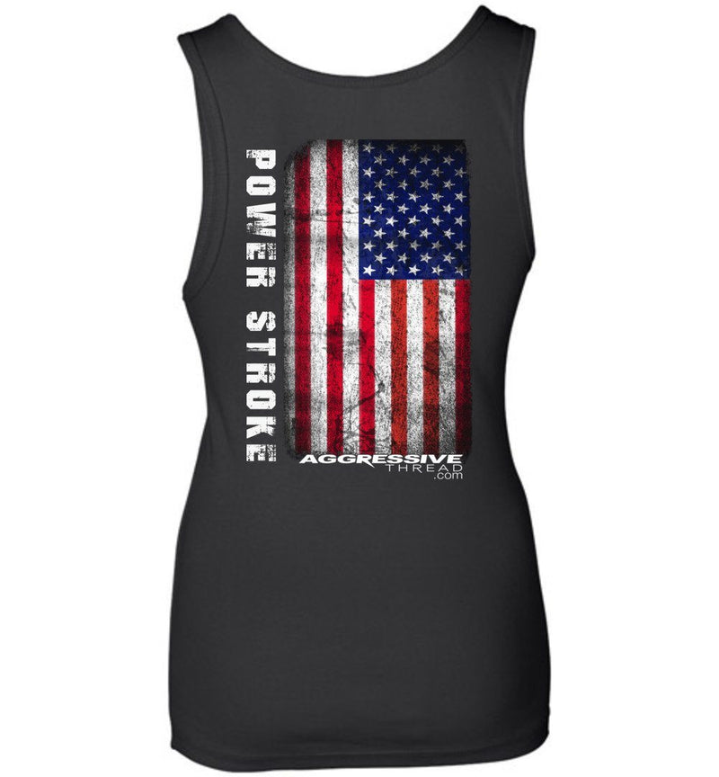 powerstroke Tank Top with Distressed American Flag - Aggressive Thread Diesel Truck T-Shirts