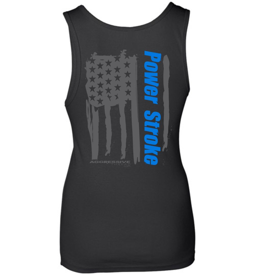 Womens Powerstroke Tank Top With Painted Power Stroke American Flag - Aggressive Thread Diesel Truck T-Shirts