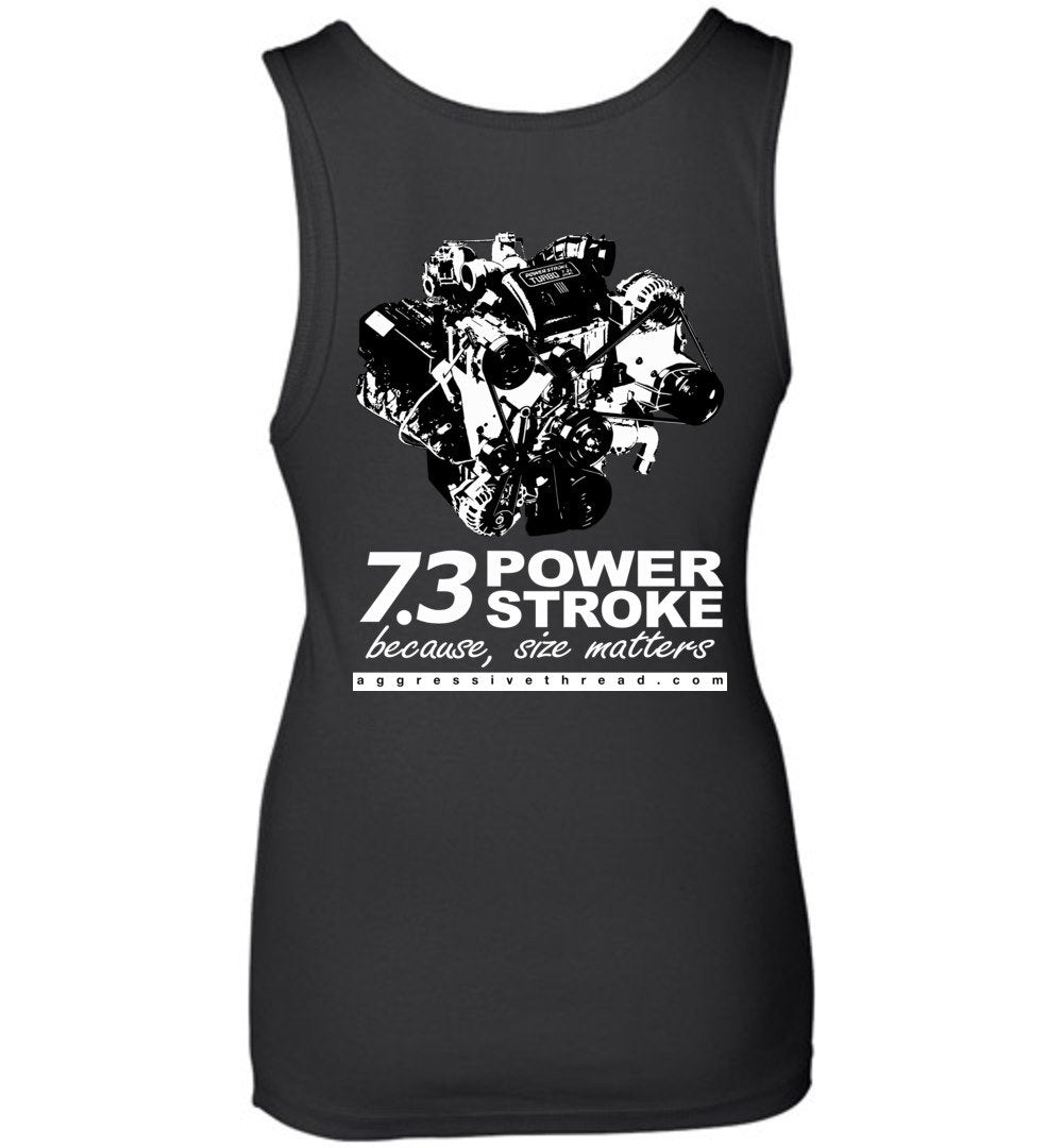 Powerstroke 7.3 Power Stroke Size Matters Womens Tank Top - Aggressive Thread Diesel Truck T-Shirts