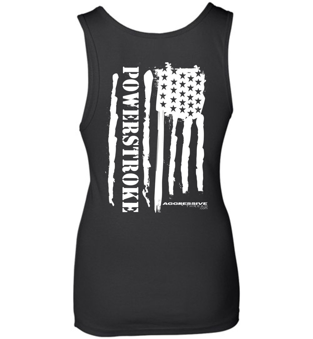 Powerstroke White American Flag Womens Power Stroke Tank Top - Aggressive Thread Diesel Truck T-Shirts