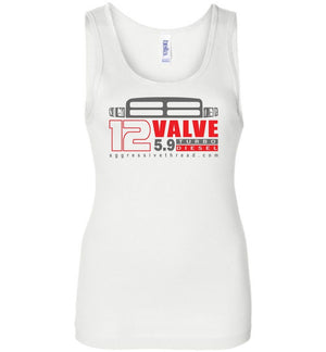 12 Valve Second Gen Turbo Diesel Womens Tank Top - Aggressive Thread Diesel Truck T-Shirts