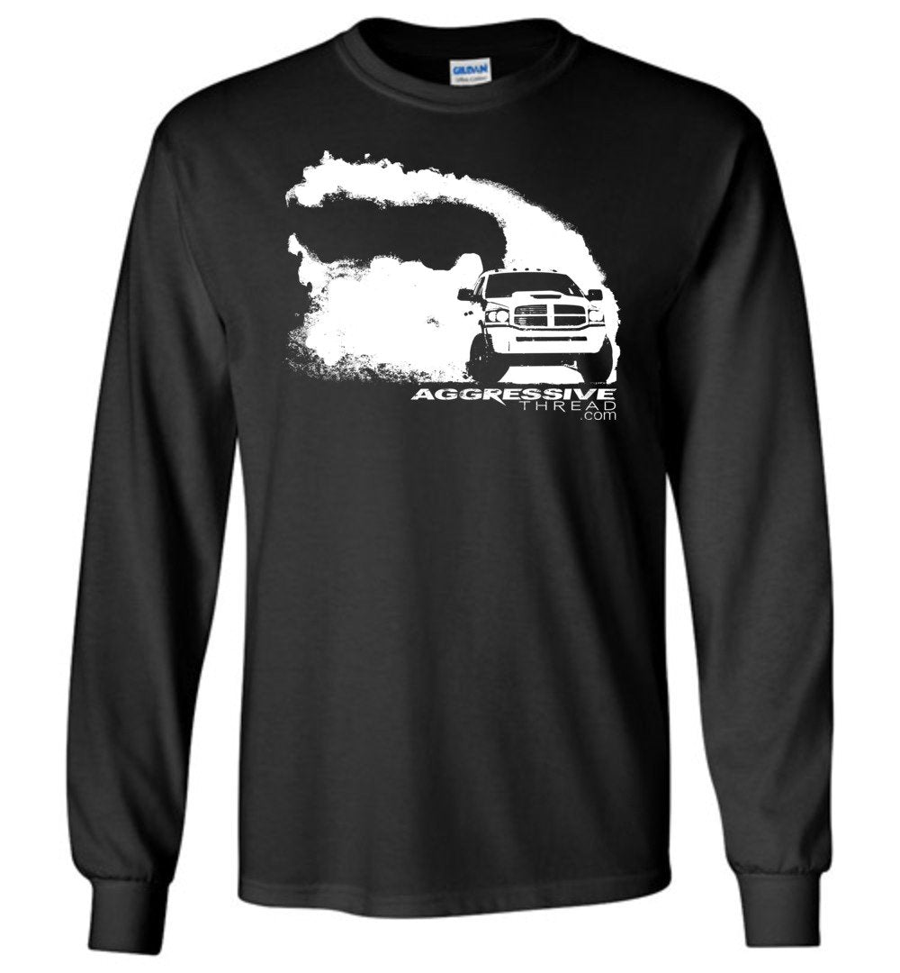 Ram Burnout Cummins Long Sleeve T-Shirt - Aggressive Thread Diesel Truck T-Shirts