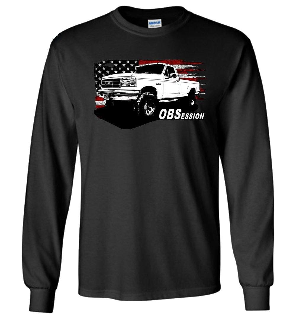 OBS Ford Single Cab Truck American Flag Long Sleeve T-Shirt