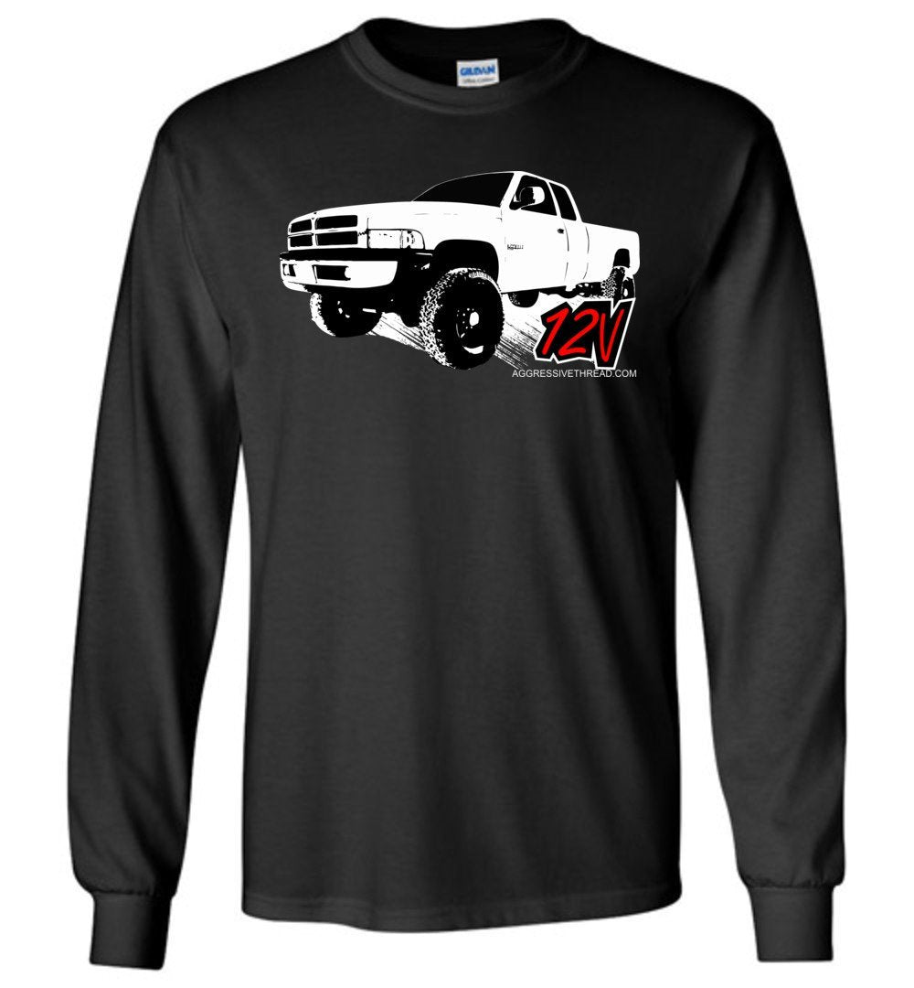 Second Gen Dodge Ram Cummins 12V Long Sleeve T-Shirt - Aggressive Thread Diesel Truck T-Shirts