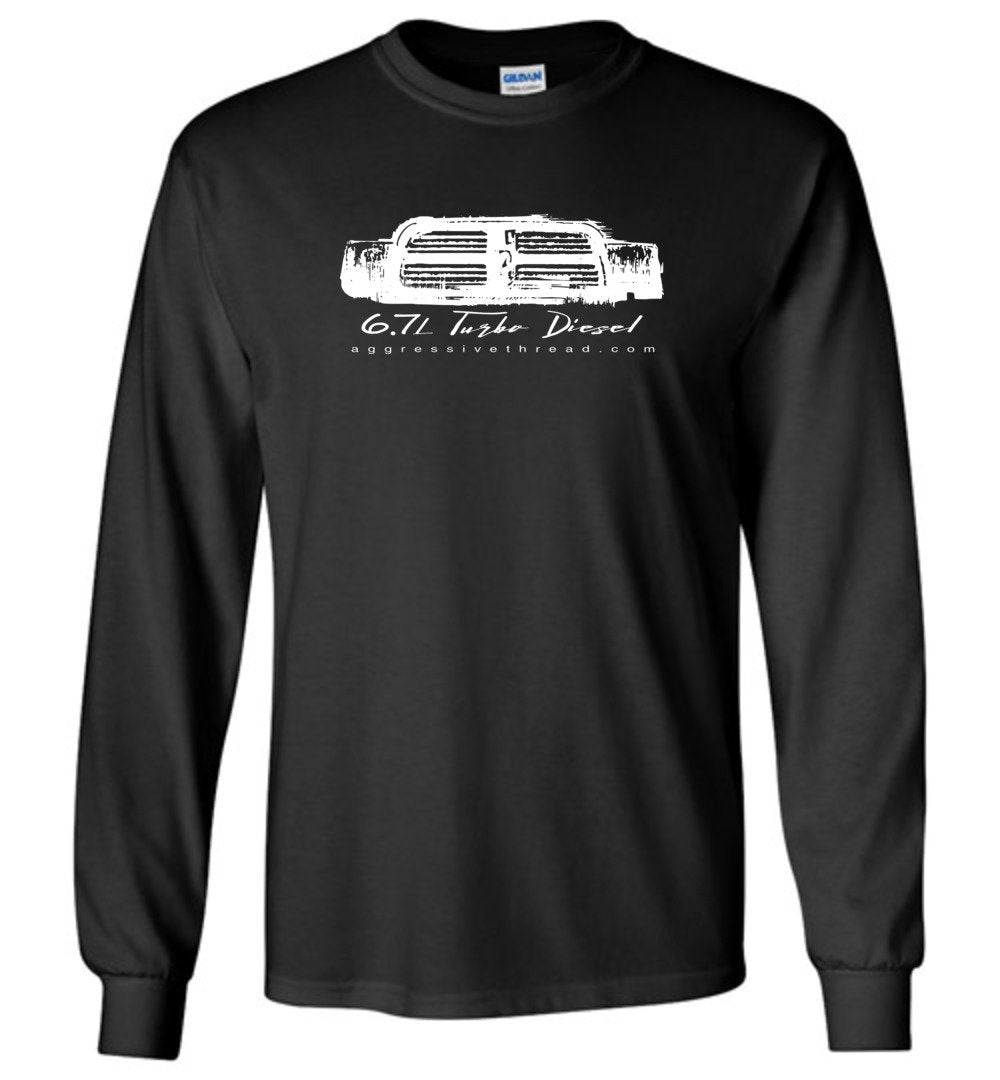 6.7 Cummins Turbo Diesel With 4th Gen Ram Grille Long Sleeve T-Shirt - Aggressive Thread Diesel Truck T-Shirts