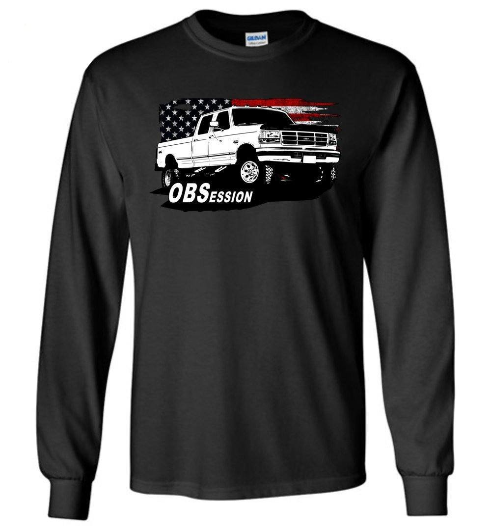 OBS Ford Crew Cab Truck American Flag Long Sleeve Shirt