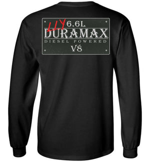 Black Duramax LLY Diesel Truck Shirt from Aggressive Thread