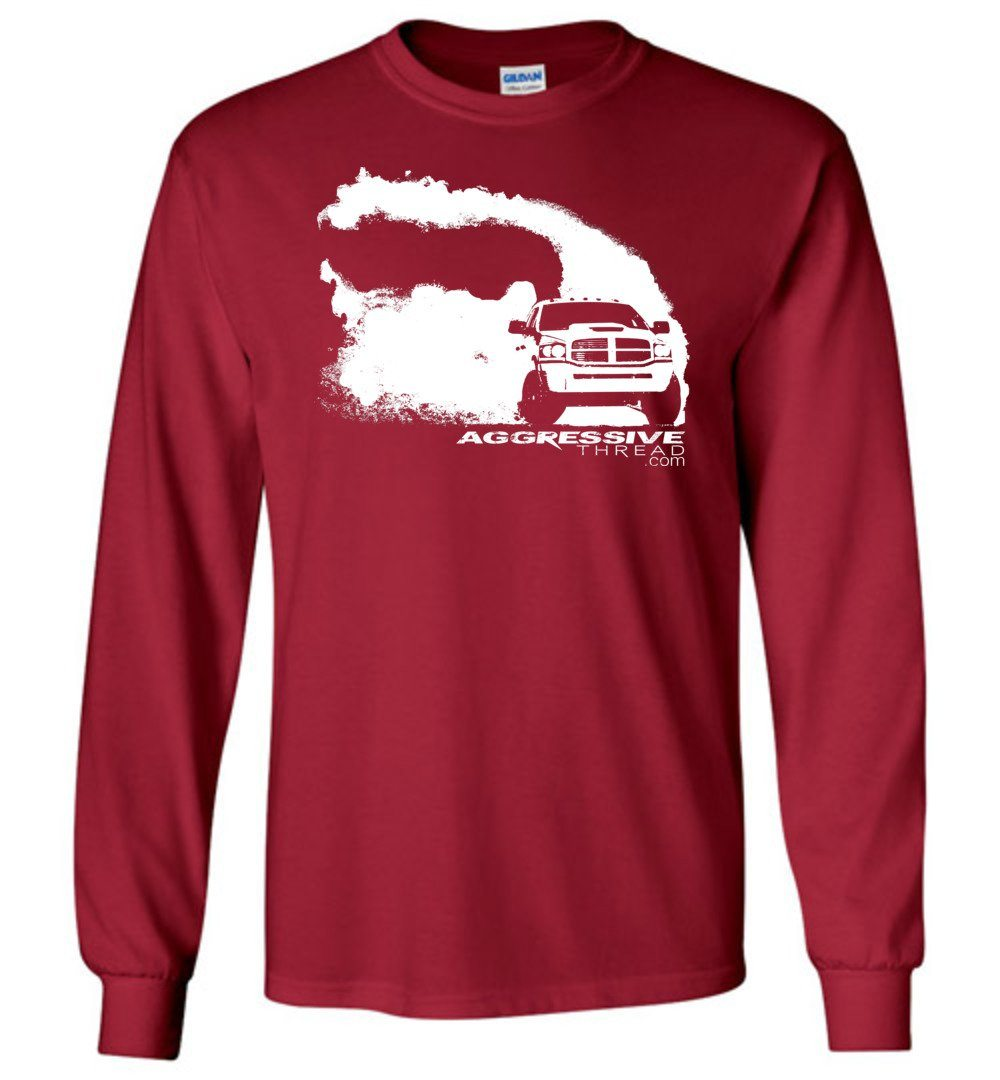 Ram Burnout Cummins Rolling Coal Long Sleeve T-Shirt - Aggressive Thread Diesel Truck T-Shirts