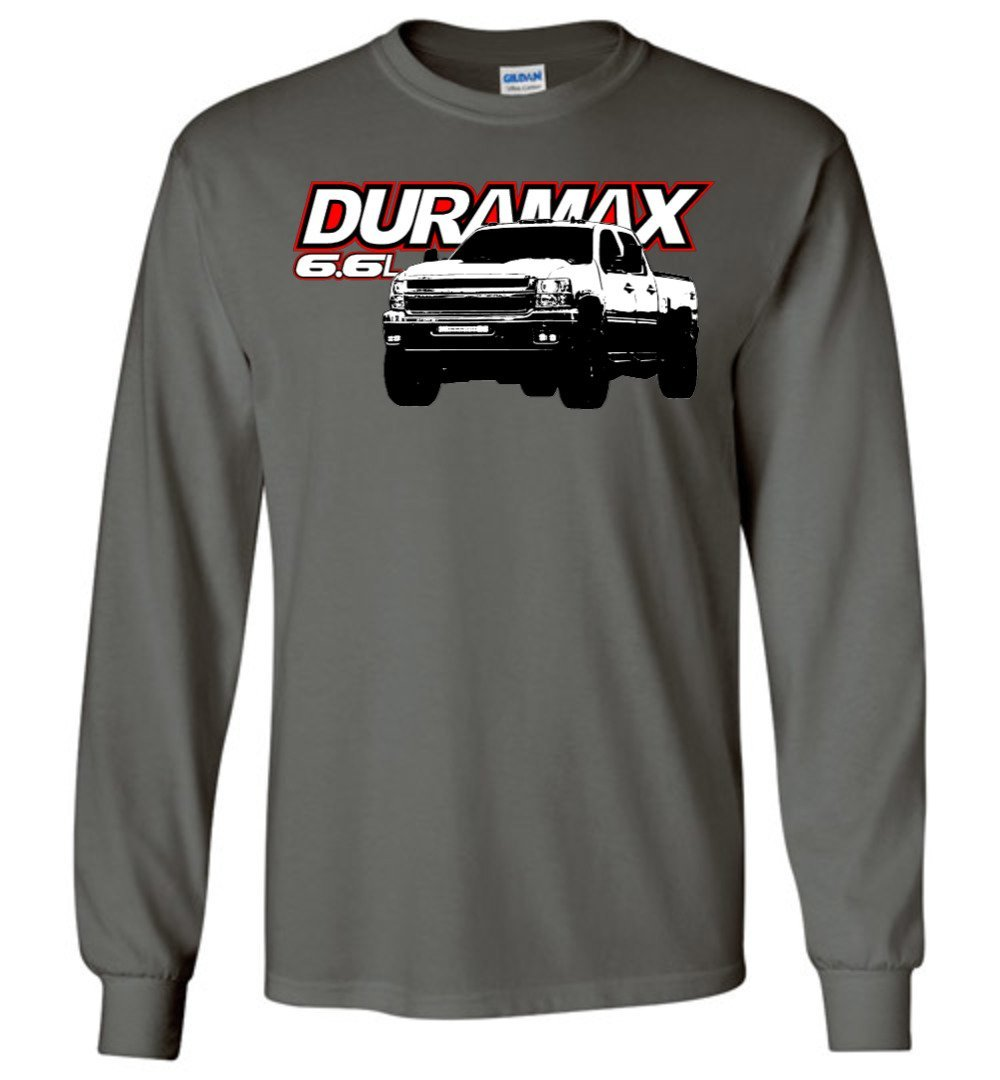 6.6l Duramax Silverado Long Sleeve T-Shirt - Aggressive Thread Diesel Truck T-Shirts
