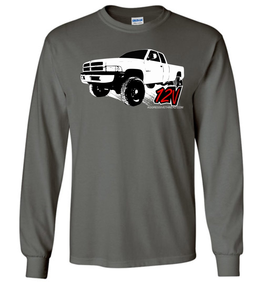 Second Gen Dodge 12V Long Sleeve T-Shirt - Aggressive Thread Diesel Truck T-Shirts