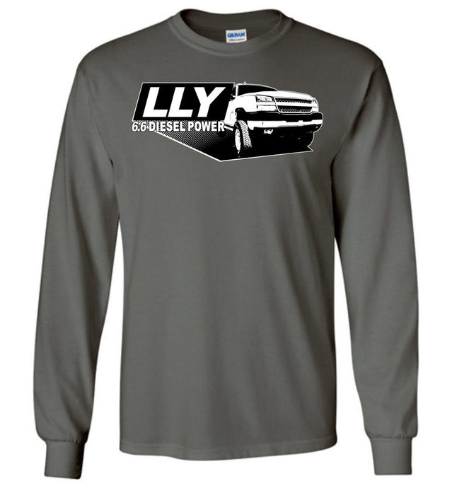 Grey lly Duramax Long Sleeve T-Shirt Featuring a 2003-2007 Chevy Silverado 2500hd