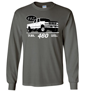 OBS Crew Cab 7.5l 460 Long Sleeve T-Shirt - Aggressive Thread Diesel Truck T-Shirts