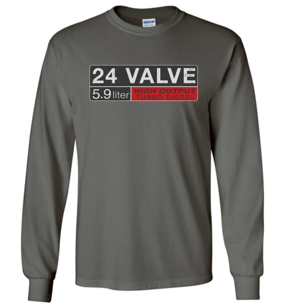 24 Valve Turbo Diesel Long Sleeve T-Shirt - Aggressive Thread Diesel Truck T-Shirts
