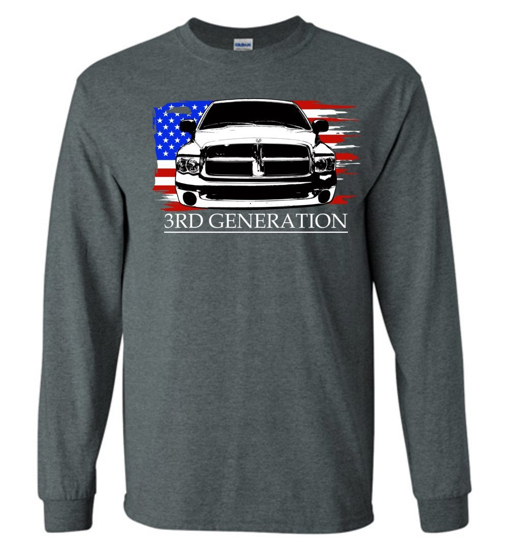 3rd Generation Dodge Ram Front Long Sleeve T-Shirt | Aggressive Thread Truck Apparel