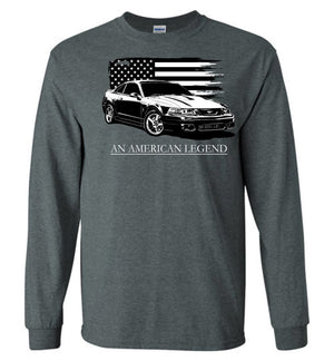 2004  Ford Mustang Cobra Long Sleeve T-Shirt With American Flag By Aggressive Thread