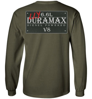 Green Duramax LLY Diesel Truck Shirt from Aggressive Thread Truck Apparel