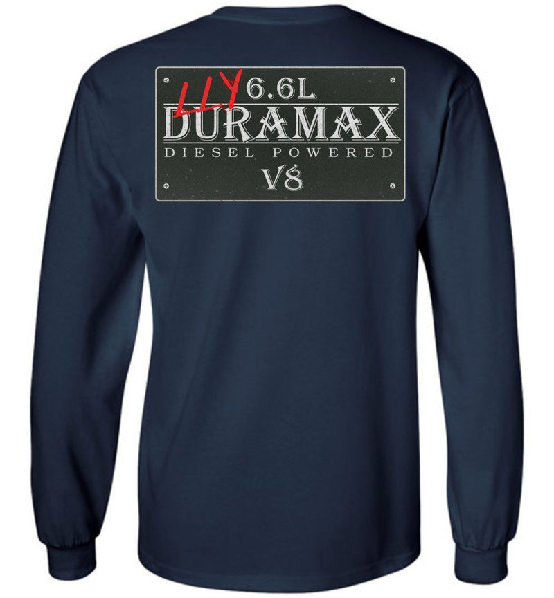 Navy Blue Duramax LLY Diesel Truck Shirt from Aggressive Thread Truck Apparel