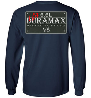 Navy Blue Duramax LB7 Diesel Truck Shirt from Aggressive Thread