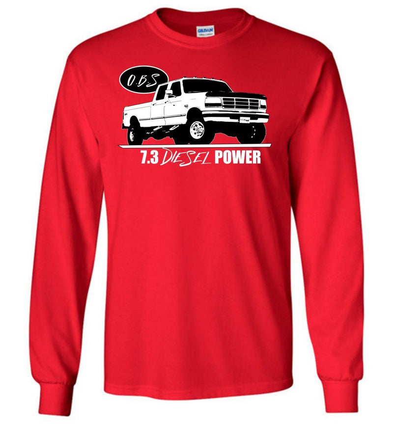 OBS Crew Cab 7.3 Powerstroke Long Sleeve T-Shirt - Aggressive Thread Diesel Truck T-Shirts